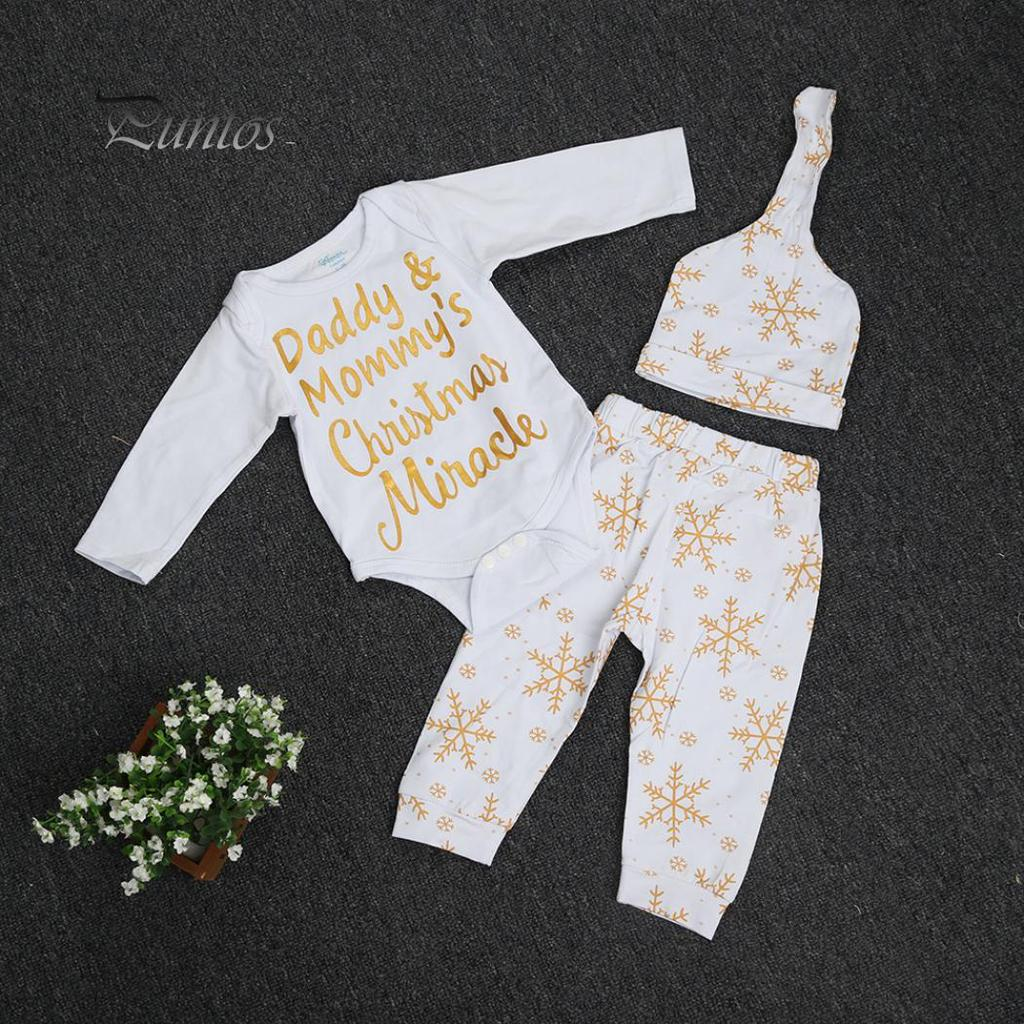 DADDY/&MMMY Christmas Newborn Baby Girl Boy Romper Bodysuit+Pant Hat 3Pcs Outfit