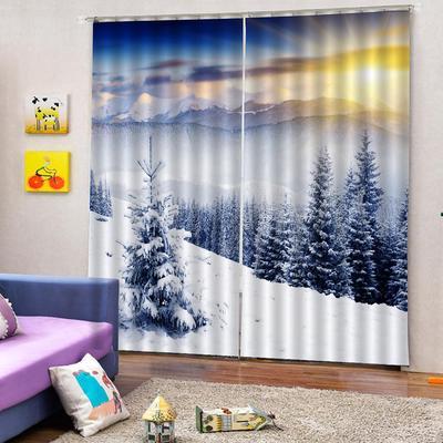 2PCS Darkening Window Curtain Drape Christmas Decoration Bedroom Living Room
