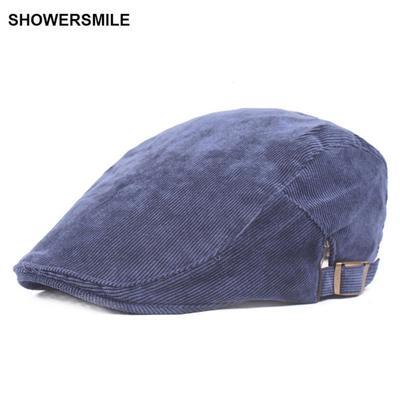 b2eb85a1dec9a Navy Blue Corduroy Duckbill Flat Cap Spring Autumn Men British Vintage  Peaked For Women Beret