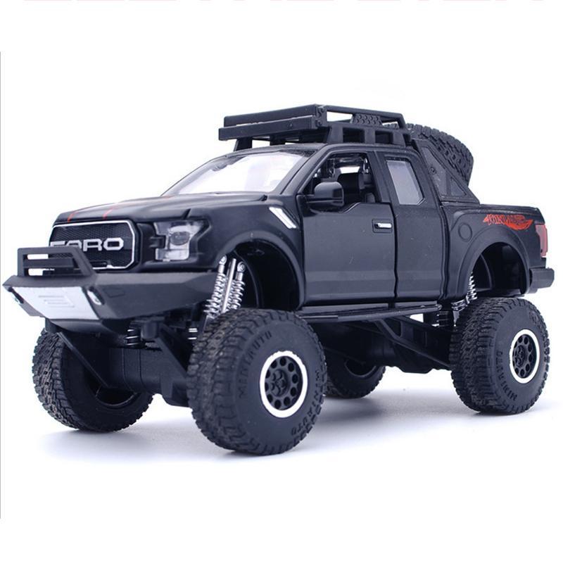 1:32 Big wheel pickup Police Car *light /& sound* Black Die Cast Car boys toy