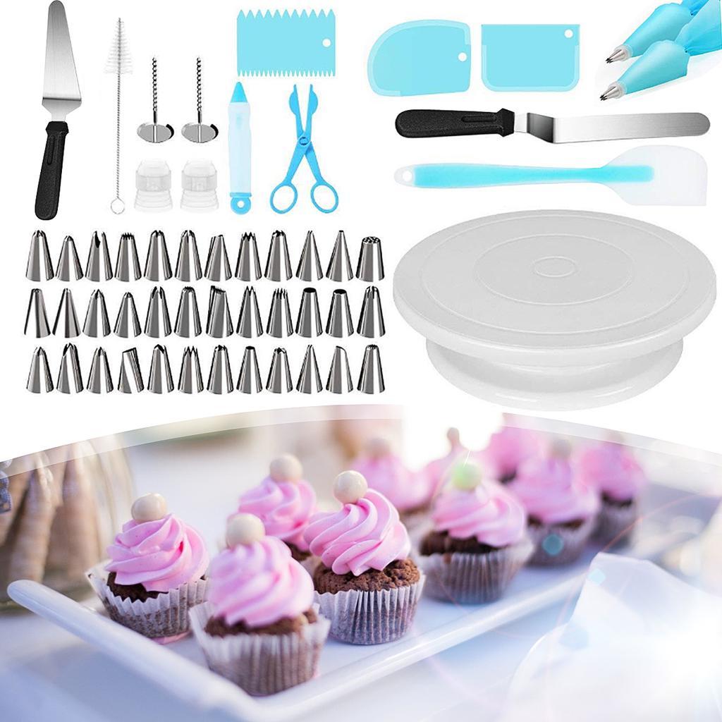124pcs Cake Decorating Kit DIY Cupcake Baking Pastry Turntable Tool Supplies Set
