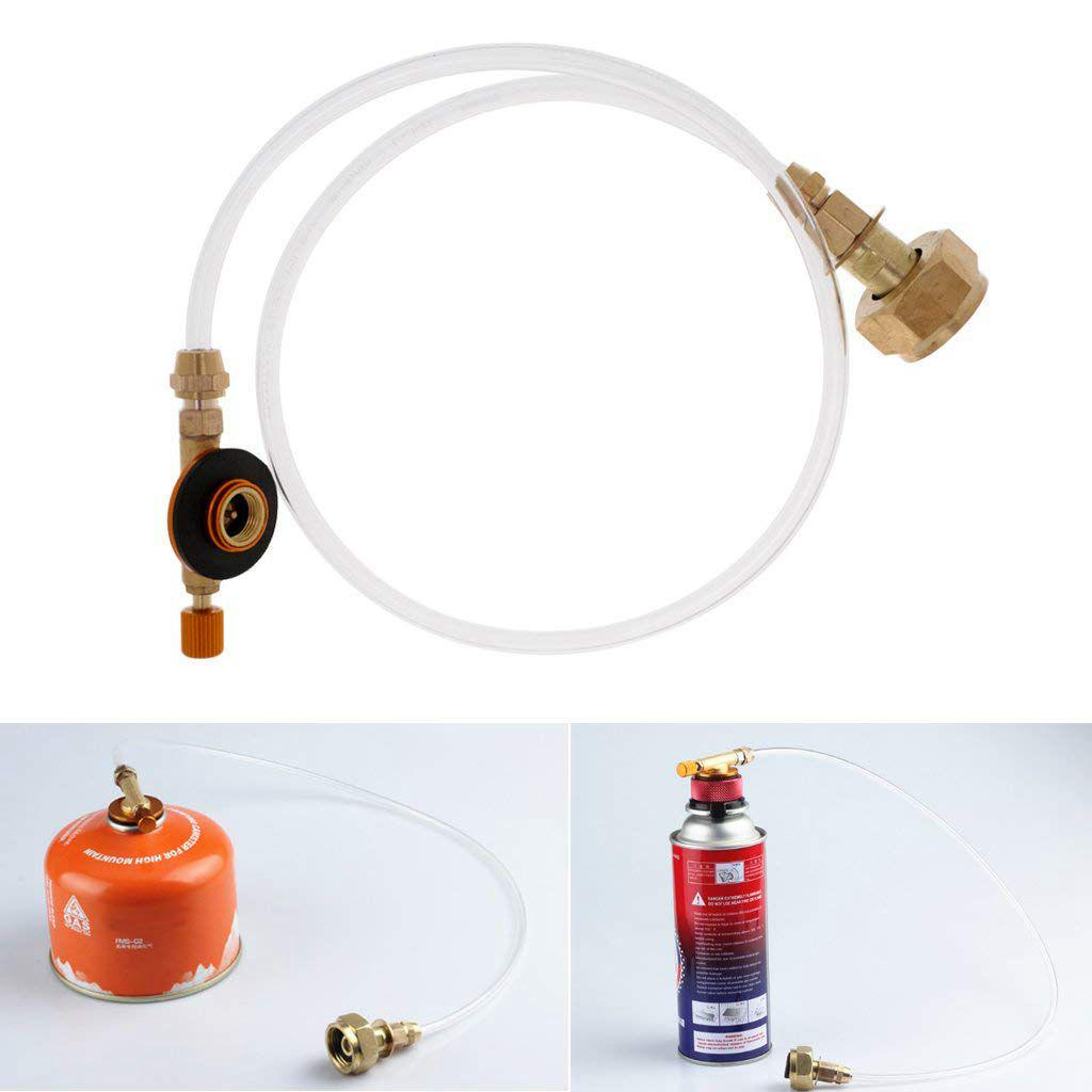 Stove Gas Hose Adapter Outdoor Propane Tank Travel Camping Cooking Cylinder Flat