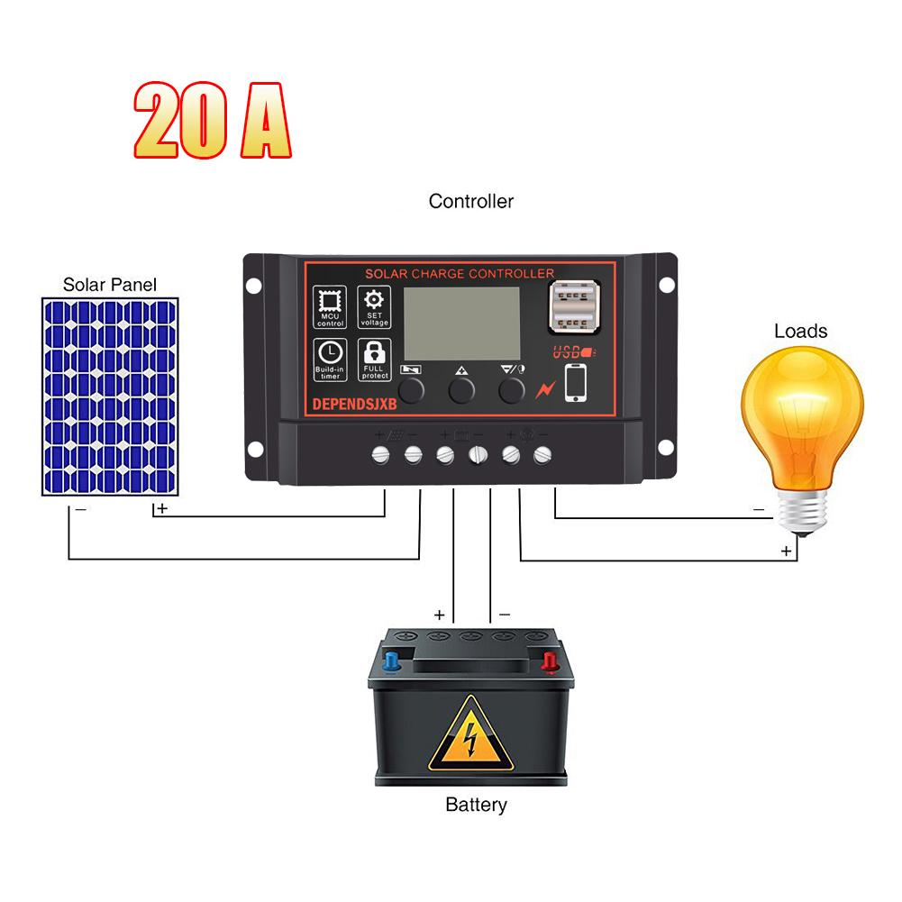 Consumer Electronics Solar Charge Controller 12v 24v 30a 50a Automatic Photovoltaic Solar Panel Battery Street Light Lcd Screen Display Pwm Charging