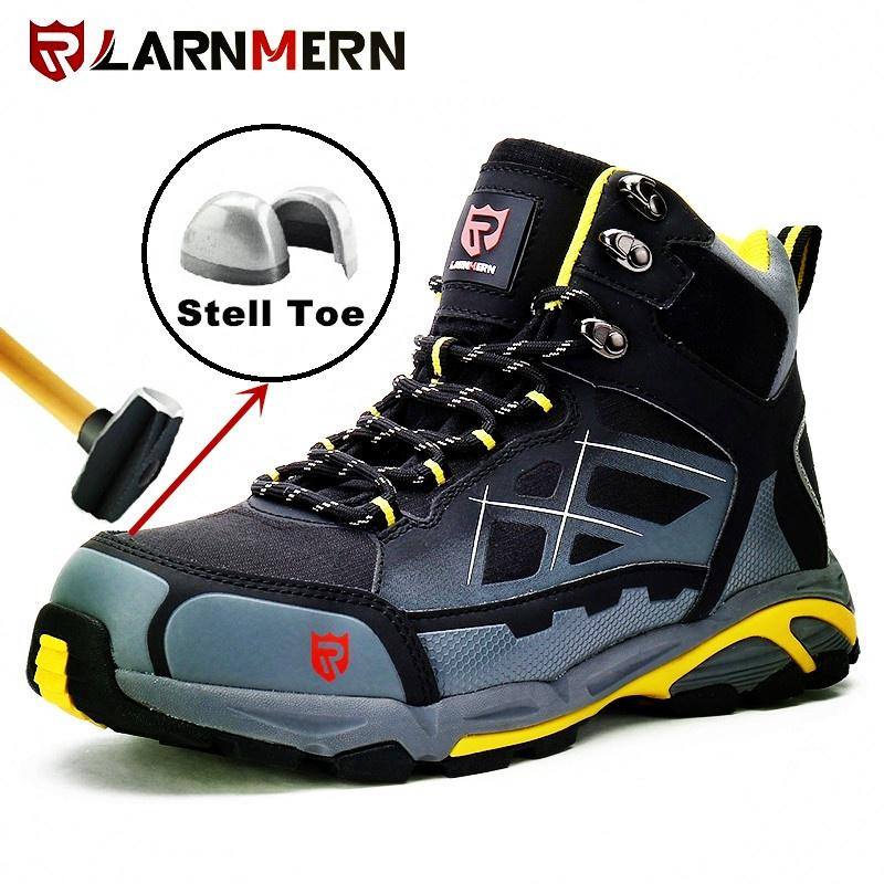 New Mens Mesh Breathable Slip On Safety Shoes Steel Toe Cap Work Boots Trainers