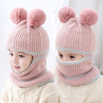 Baby Kids One Pieces Knitting Pom Pom Hat Scarf Set Toddler Warm Double Fur Beanie Wool Hats Scarves