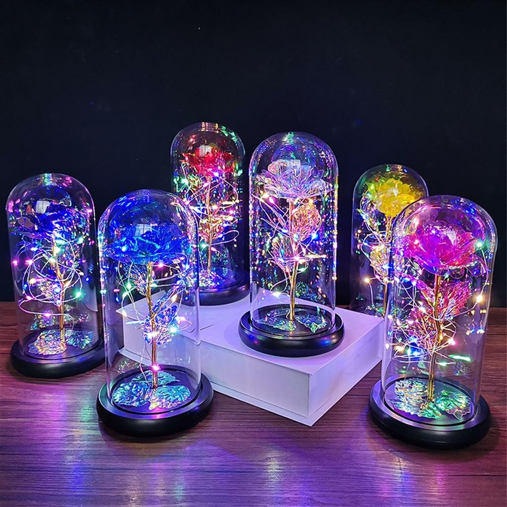 LED Rose Flower String Fairy Light Glass Night Lamp Valentine/'s Gift Decoration
