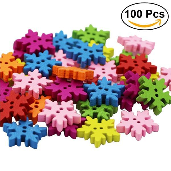 New 50pcs Christmas Holiday Wooden Collection Snowflakes Buttons Snowflakes Embellishments 18mm Creative Decoration Fixing Prices According To Quality Of Products Apparel Sewing & Fabric