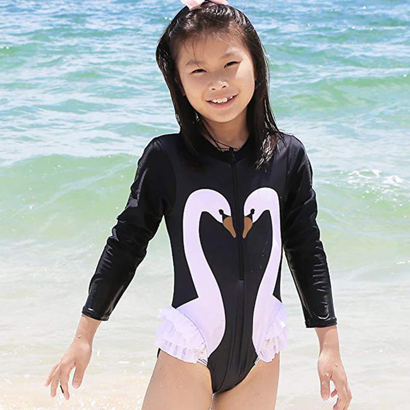 Kids Girls Swan Swimsuit Bathing Beach Rash Guard One-Piece Swimwear Beachwear