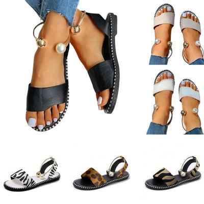 Women Summer Casual Flat Bottom Pearl Sandals And Slippers Cross-border Large Size Sandals