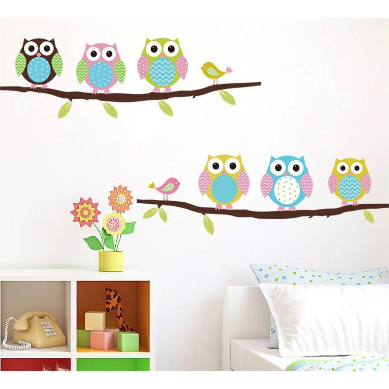 创意墙贴pvc卡通儿童房卧室背景装饰墙贴纸画可爱猫头鹰