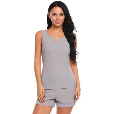 Fshow Women Solid V-Neck Sleeveless Tank Tops with Elastic Waist Shorts  Pajamas Sets 256f01c55