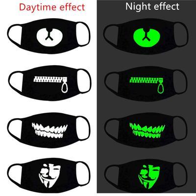 Halloween Decor Luminous Party Mask Dustproof Patterned Party Mask Women Men Cosplay Props Halloween Decoration Supplies