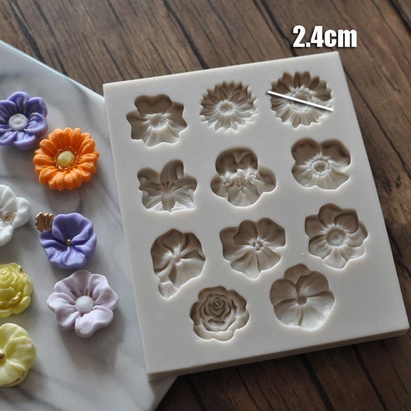 定制款 翻糖蛋糕硅胶模具 干佩斯花朵造型模具 多款花卉花朵全集