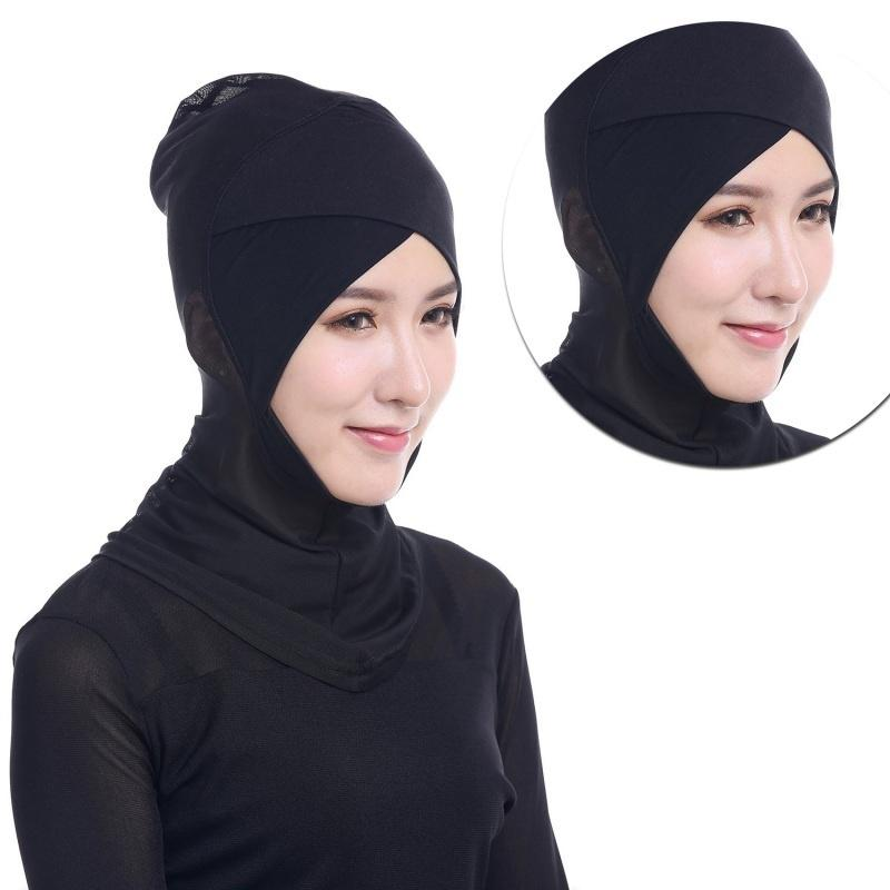 Hijab Styling Under Scarf Ninja Inner Neck Chest Plain Hat Cap Bonnet Black soft