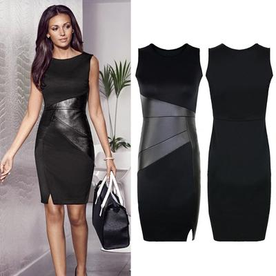 921bbee63ab Sexy Women PU LeatherSleeveless O Neck Mini Dress Cocktail Party Clubwear
