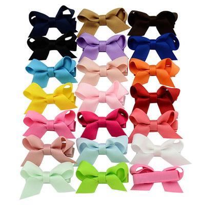 20 PCS Baby Big Hair Bows Boutique Girls Alligator Clip Grosgrain Ribbon Fo