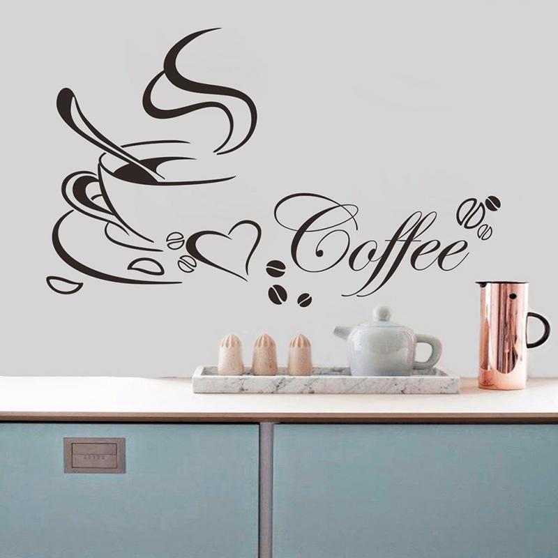 咖啡杯一代精雕可移除个性墙贴客厅卧室沙发背景墙