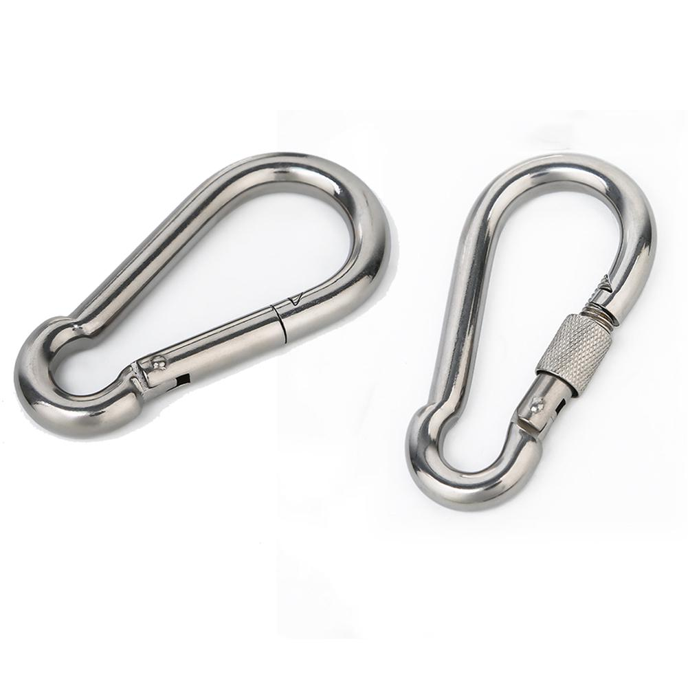 1pc M4-M12 Mountaineer Spring Hook Snap Carabiner Safety SS Buckle Lock Keychain