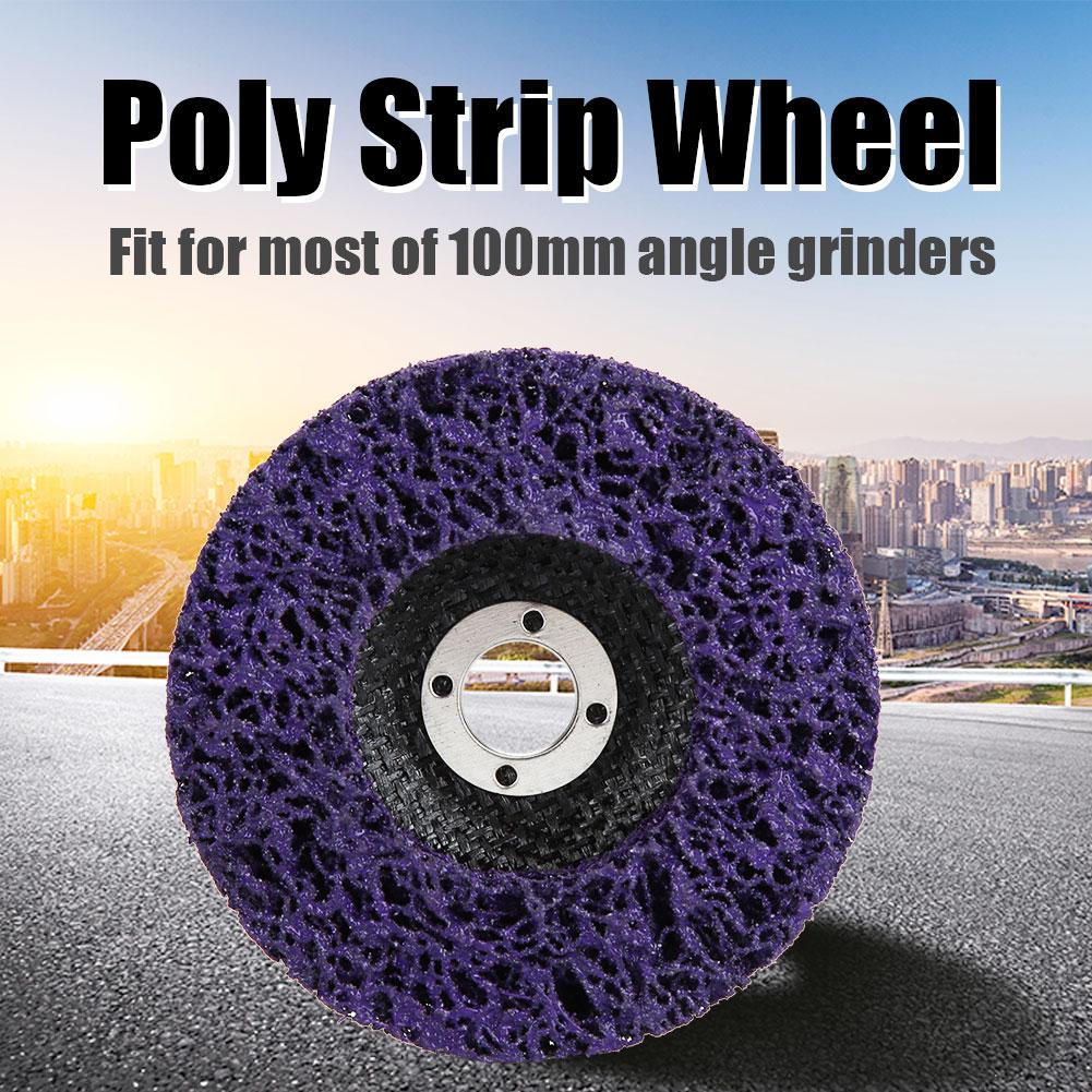 2Pcs Poly Strip Wheel Disc Paint Rust Removal Tool Clean Quality Angle Grinder Discs Blue 115mm 60#