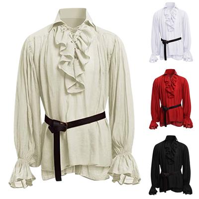 Men Retro Medieval Tunic Shirts Long Sleeve Casual Vintage Top Cosplay Costume