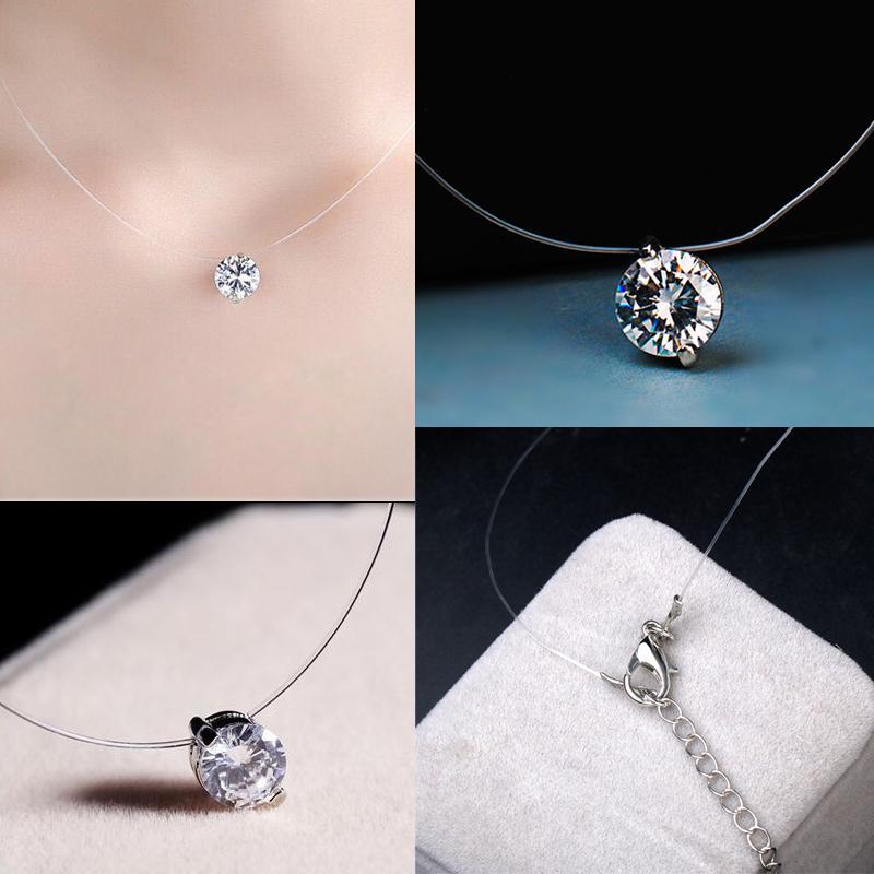 Невидимый Кулон рыбалка линия ожерелье женщин ювелирные изделия фото