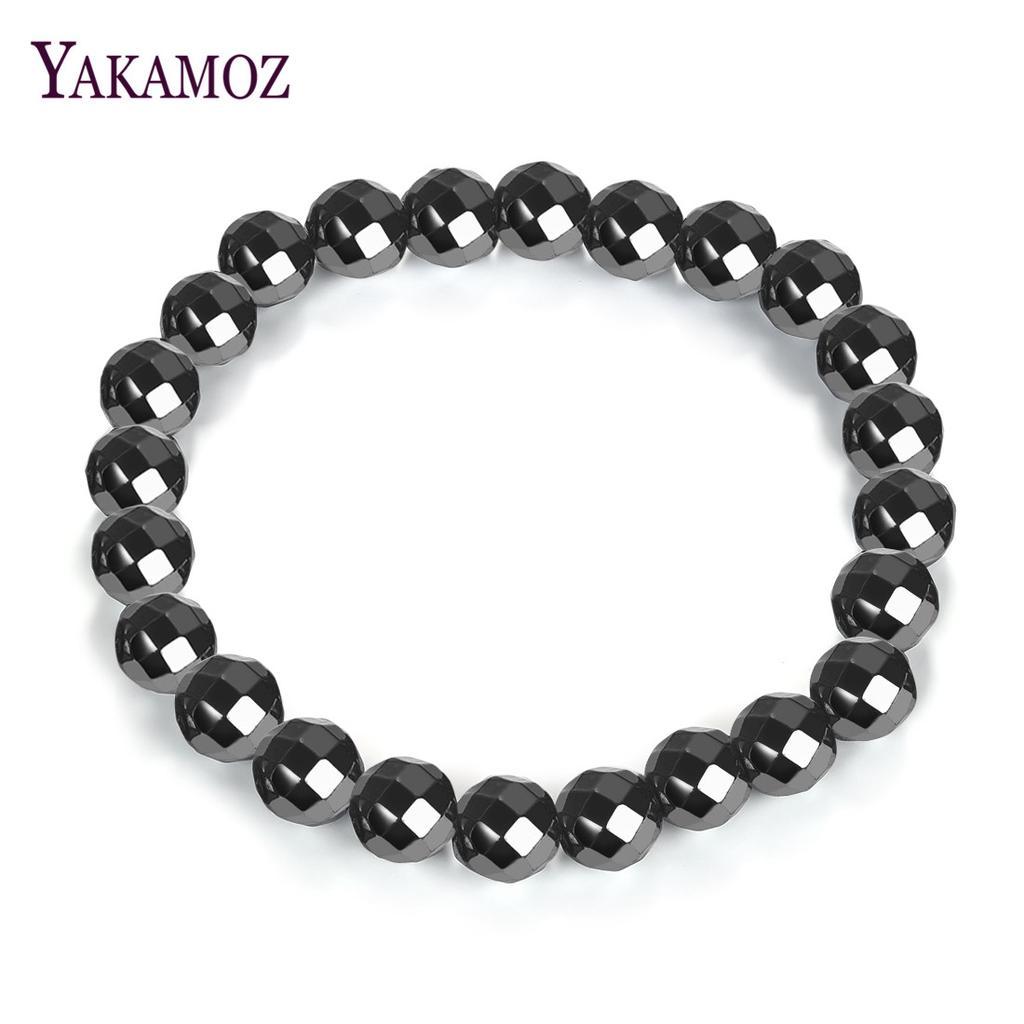 Black Yoga bracelet  black stone unisex bracelet  Black elastic boho bracelets  Black Agate mens bracelets  naturalblack stone bracelets