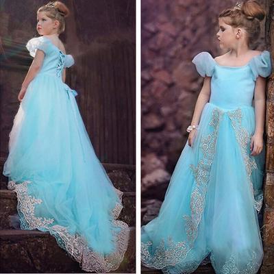 Girls Cinderella Princess Dress Fancy Fairy Costume Party Ball Gown Dress 4-14Y