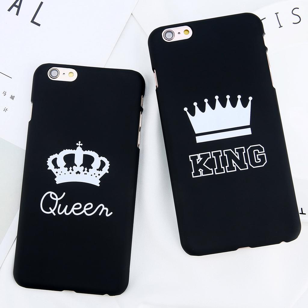 Fashion King Queen Couple Crown Hard PC Matte Back Cover Phone Case for iPhone