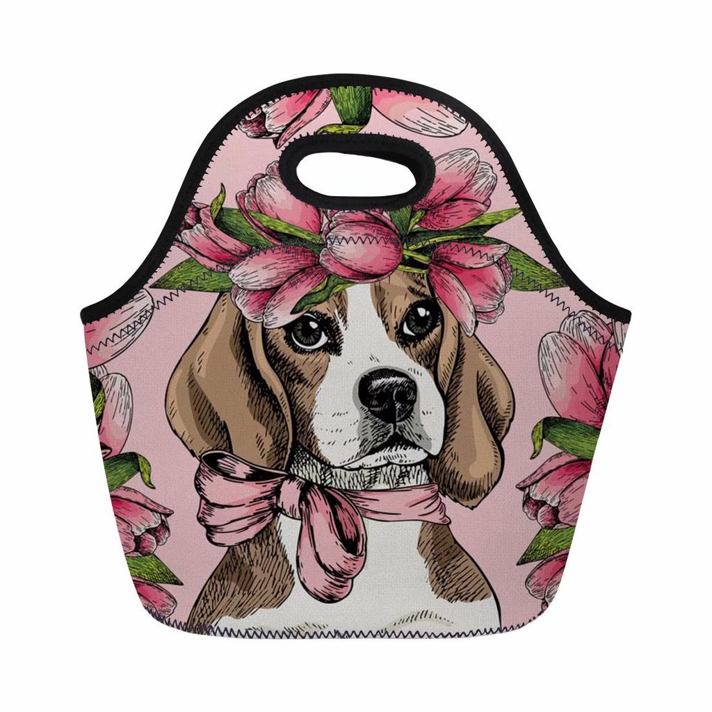 Forudesigns Portable Lunch Bag Insulated Polyester Corgi Yorkshire Dog Flower Picnic Totes Carry Bag For Kids Women Thermal Bag Functional Bags