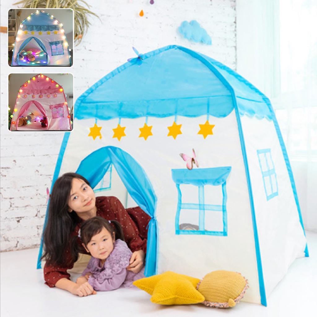 Girls Princess Castle Cute Playhouse Children Kids Play Tent Outdoor Toys Blue