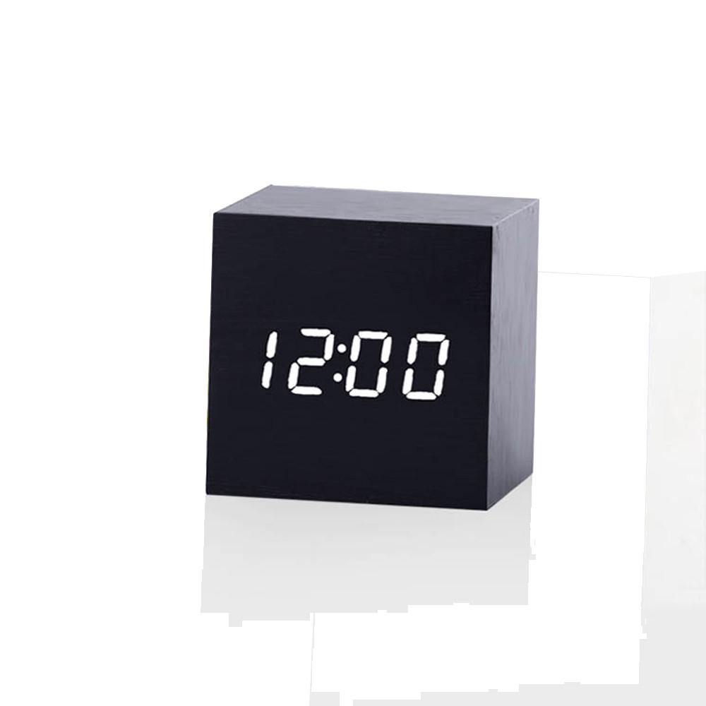 Modern Wooden Cube Digital Led Thermometer Timer Calendar Desk Alarm Clock At Any Cost Home Decor