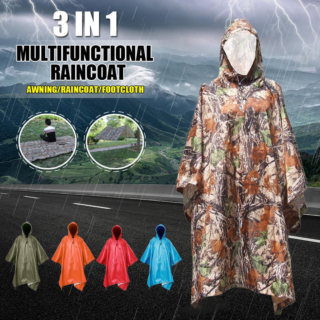 Camouflage Waterproof Hooded Rain Poncho Outdoor Camping Hiking 3 in 1 Cover