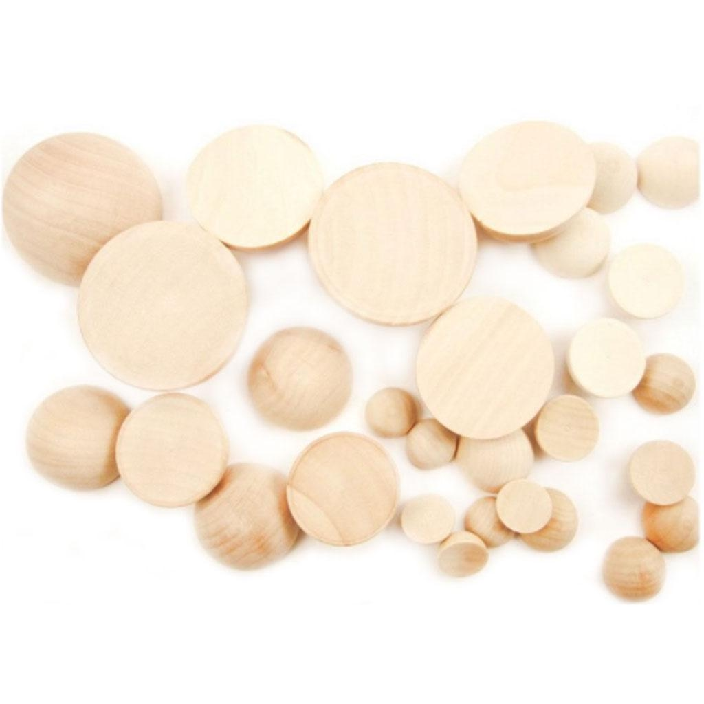 100 Pieces Diameter 20mm Split Wood Balls Half Wooden natural Balls Half Round Ball for DIY Projects Crafts Kids Arts