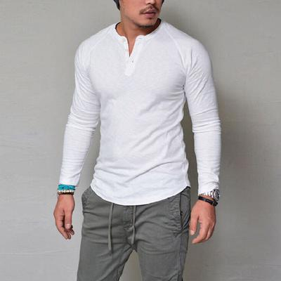 Mens Linen Polo Shirts Long Sleeve Casual Button Down Striped Muscle T-Shirt Tops Blouse Pullover Jumper Sweatshirts