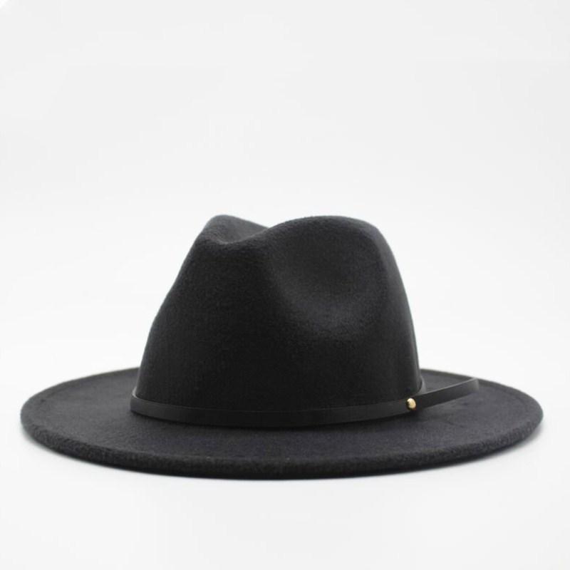 a7615c24baee8 Wool Fedora Hat Hawkins Jazz Cap Wide Brim Ladies Trilby Chapeu ...