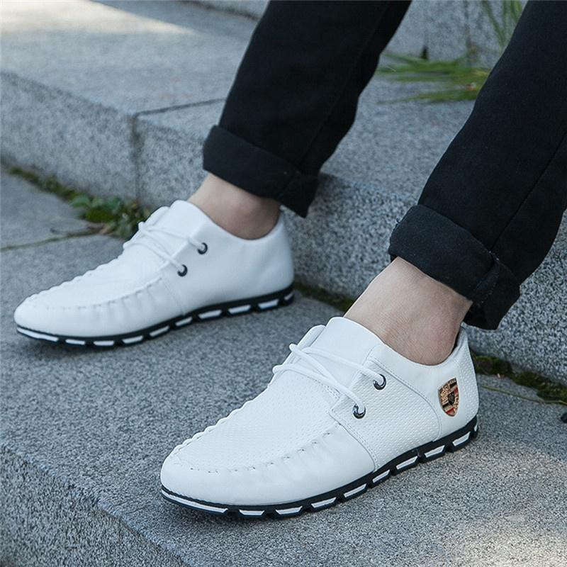 Men's Leather Doug Lace Up Peas Breathable Casual Shoes