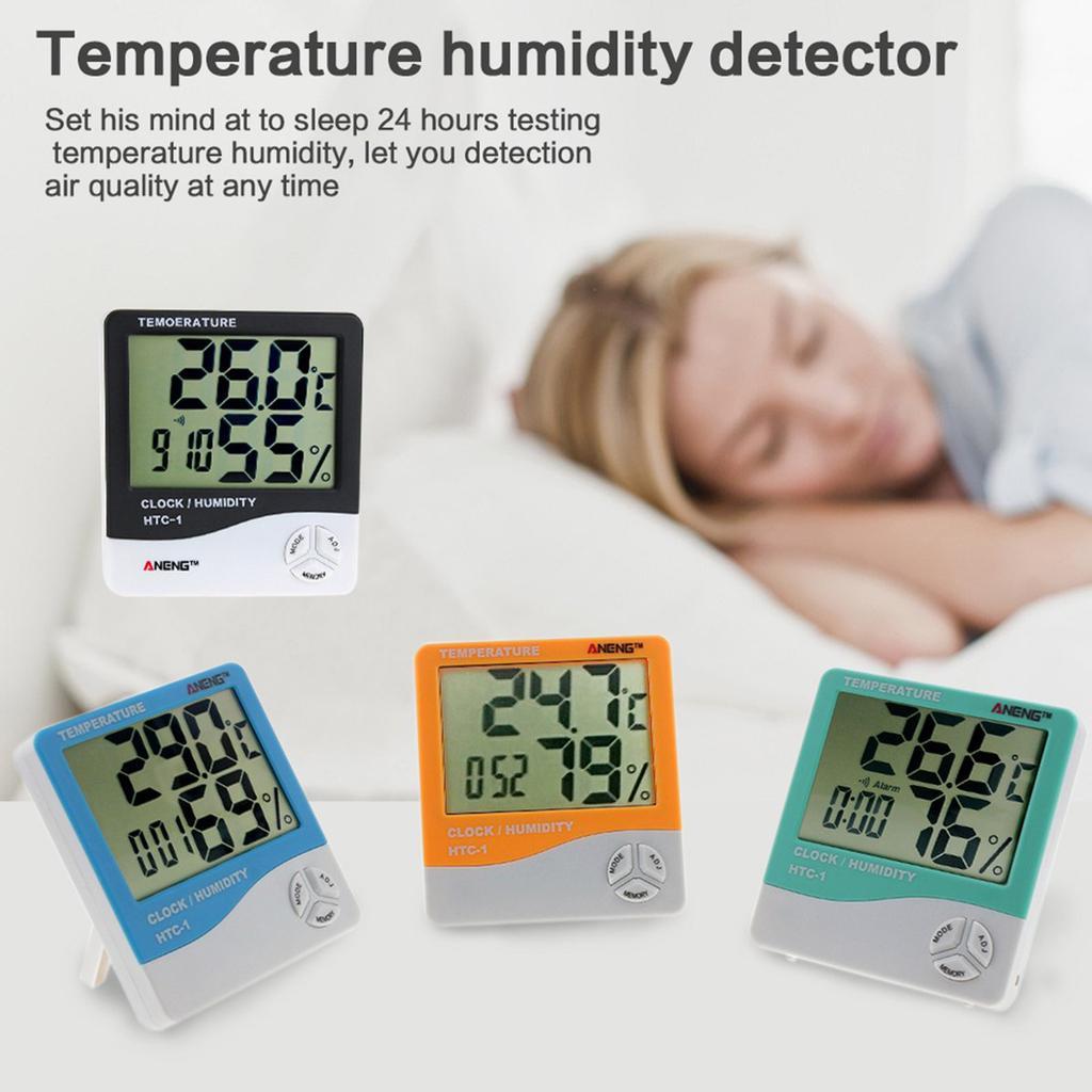 HTC-8A Digital Luminous Thermometer Hygrometer Temp Humidity Test Clock new