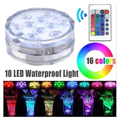 Submersible LED Light 10 LED Multicolor PS Waterproof Submersible Light RGB with Remote Control for Home//Wedding//Party//Gathering//Vase//Fish Tank