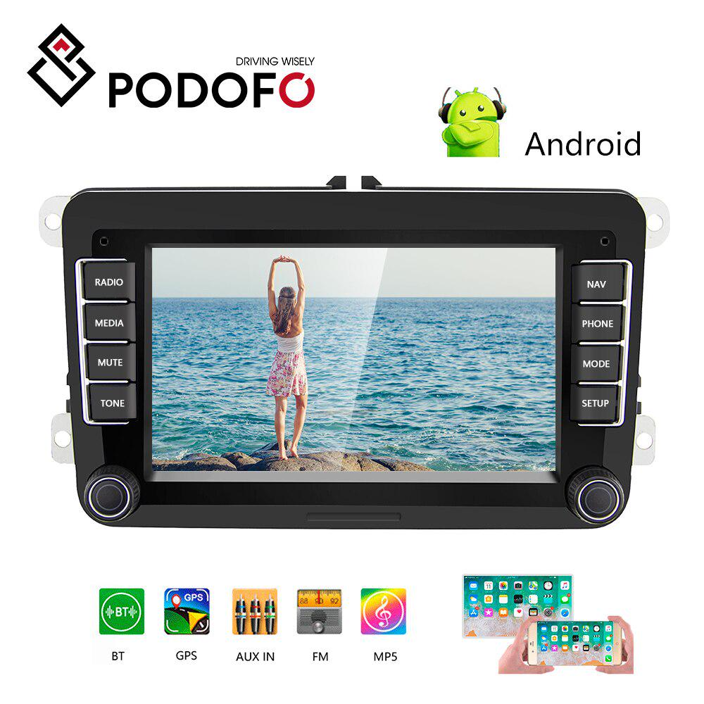 Android 7.1 Quad Core 7 inch Double Din in Dash HD Touch Screen Car GPS Navigation Stereo for Volkswagen VW Support Navi//Bluetooth//SD//USB//FM//AM Radio//WIFI//DVR//1080P