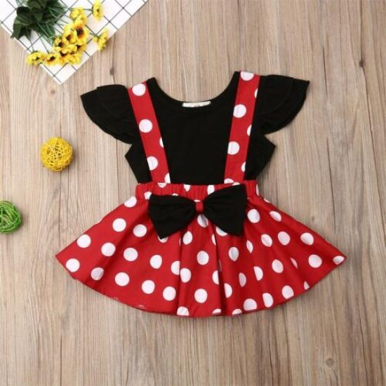 Toddler Infant Kids Baby Girls Fashion Lovely Floral Printed T-Shirt Tops Girls Clothes Suspender Skirt Outfits Ruched Flying Long Sleeve Clothing Set for 1-4 Years Old