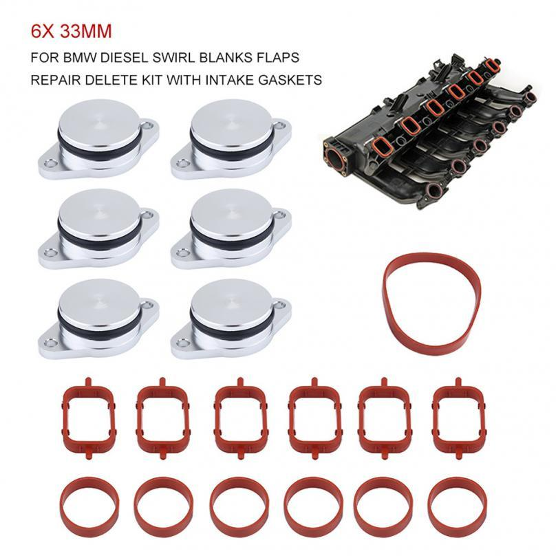 Red 33mm Swirl Flap Blank Bungs /& Manifold Gaskets For BMW E46 E53 E60 E61 E90