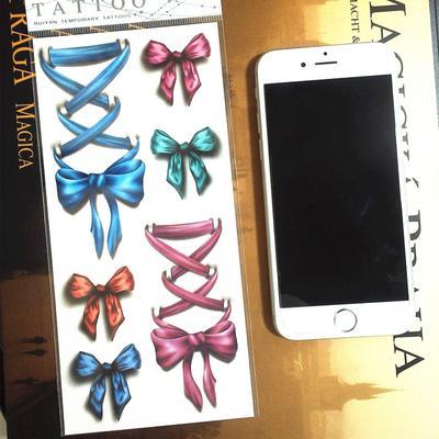 783e6838b2097 Blue Pink Bowknot 3d Temporary Tattoo Body Art Flash Tattoo Stickers  Waterproof Car Styling Tatoo