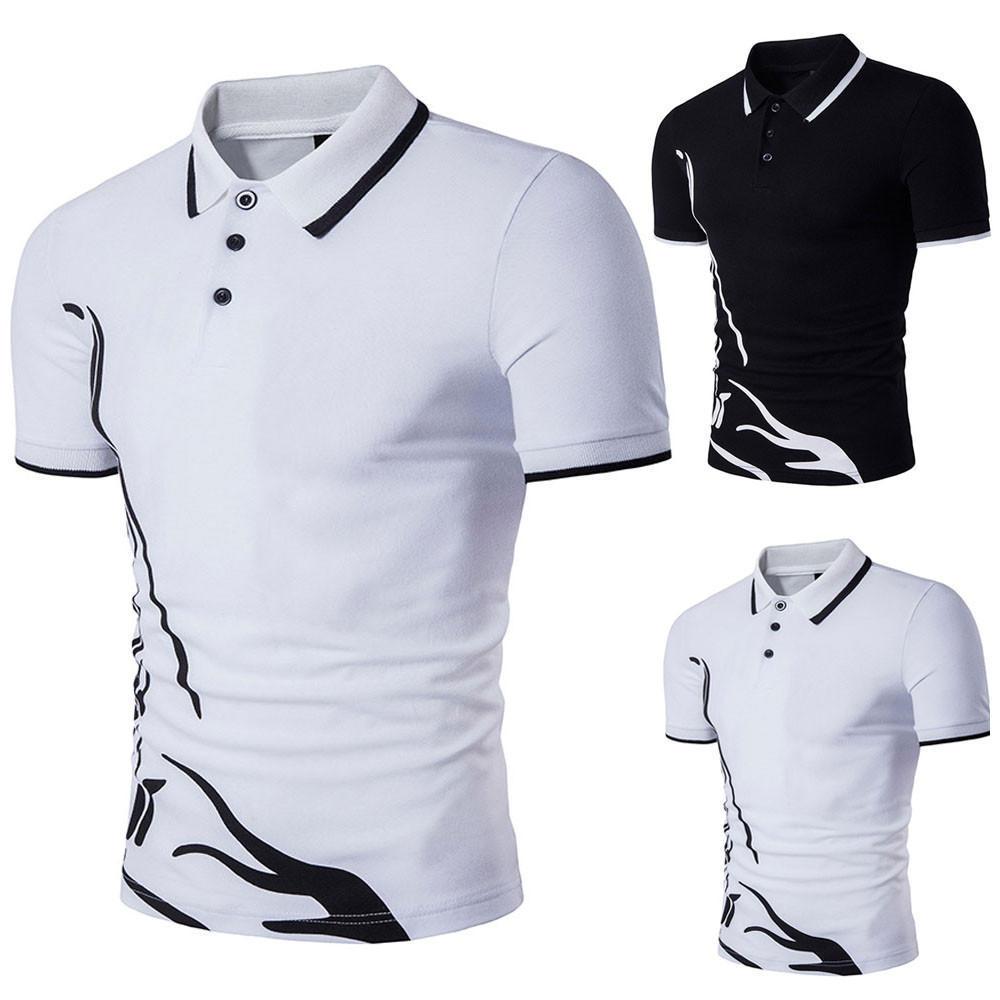 Nuevos caliente delgado deportes manga corta camisa Casual de Polo ... 8b02de25d92e0