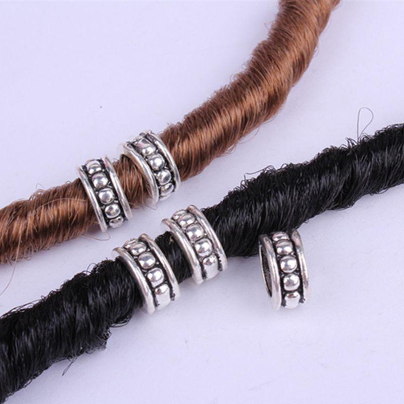 10pcs Tibetan Silver Tube Big Hole Hair Braid Beads DIY Hair Accessories
