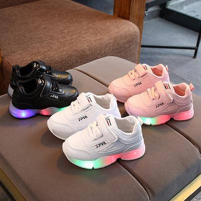 Children Fashion Velcro Shoes Boys Girls LED Lighted Sneakers