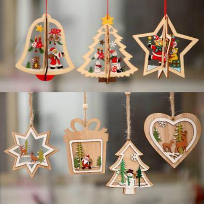 6pcs Set Rustic Wooden Christmas Tree Decorations Xmas Hanging Ornaments