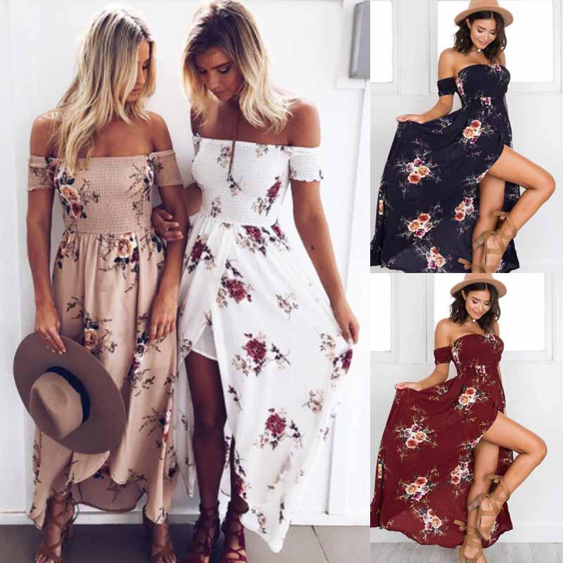 (ZD)热卖欧美夏季裹胸印花连衣裙海边度假沙滩长裙女
