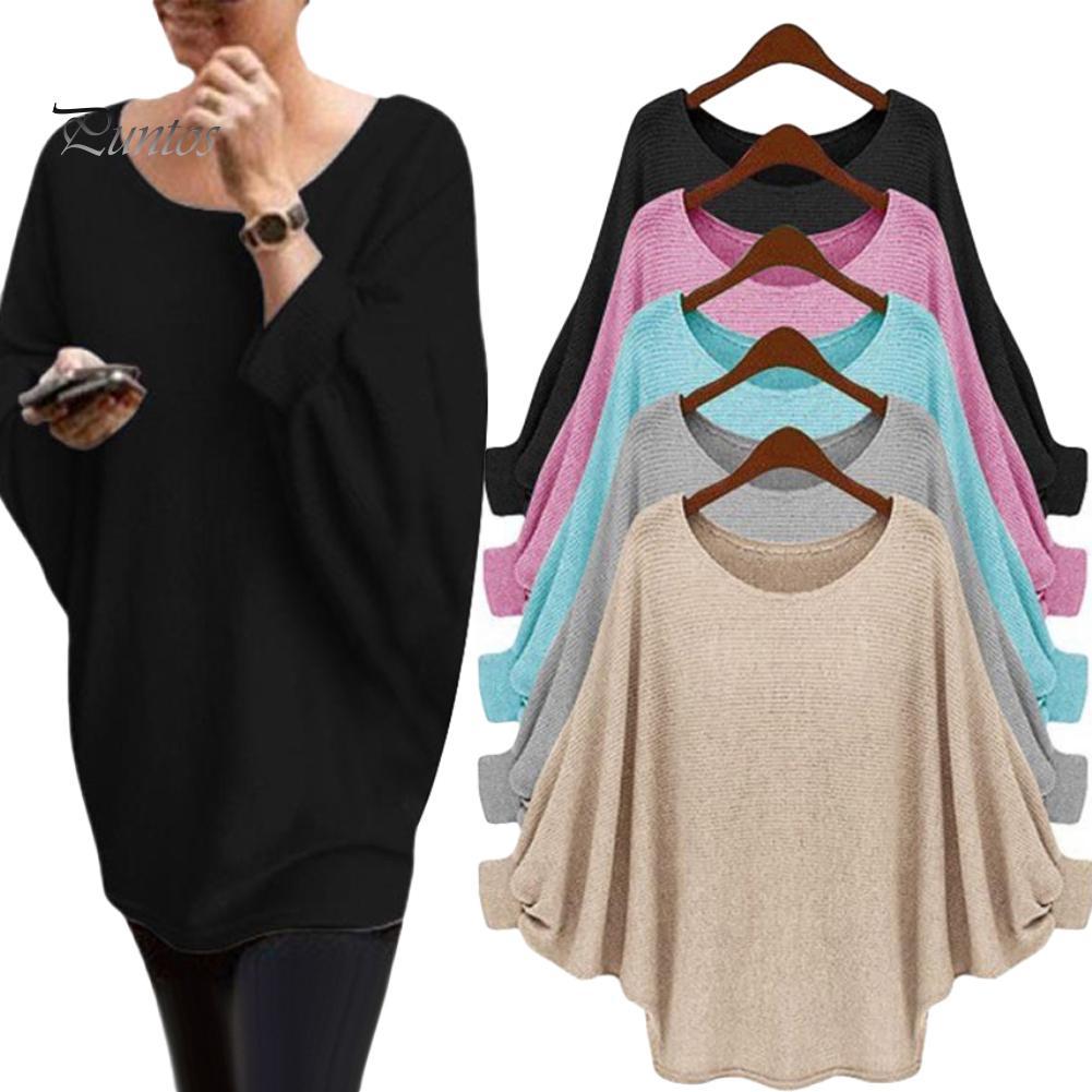 Puntos женщин ы Чистый цвет Негабаритные Batwing рукав свитер длинный рукав пуловер Pullover – купить по низким ценам в интернет-магазине Joom