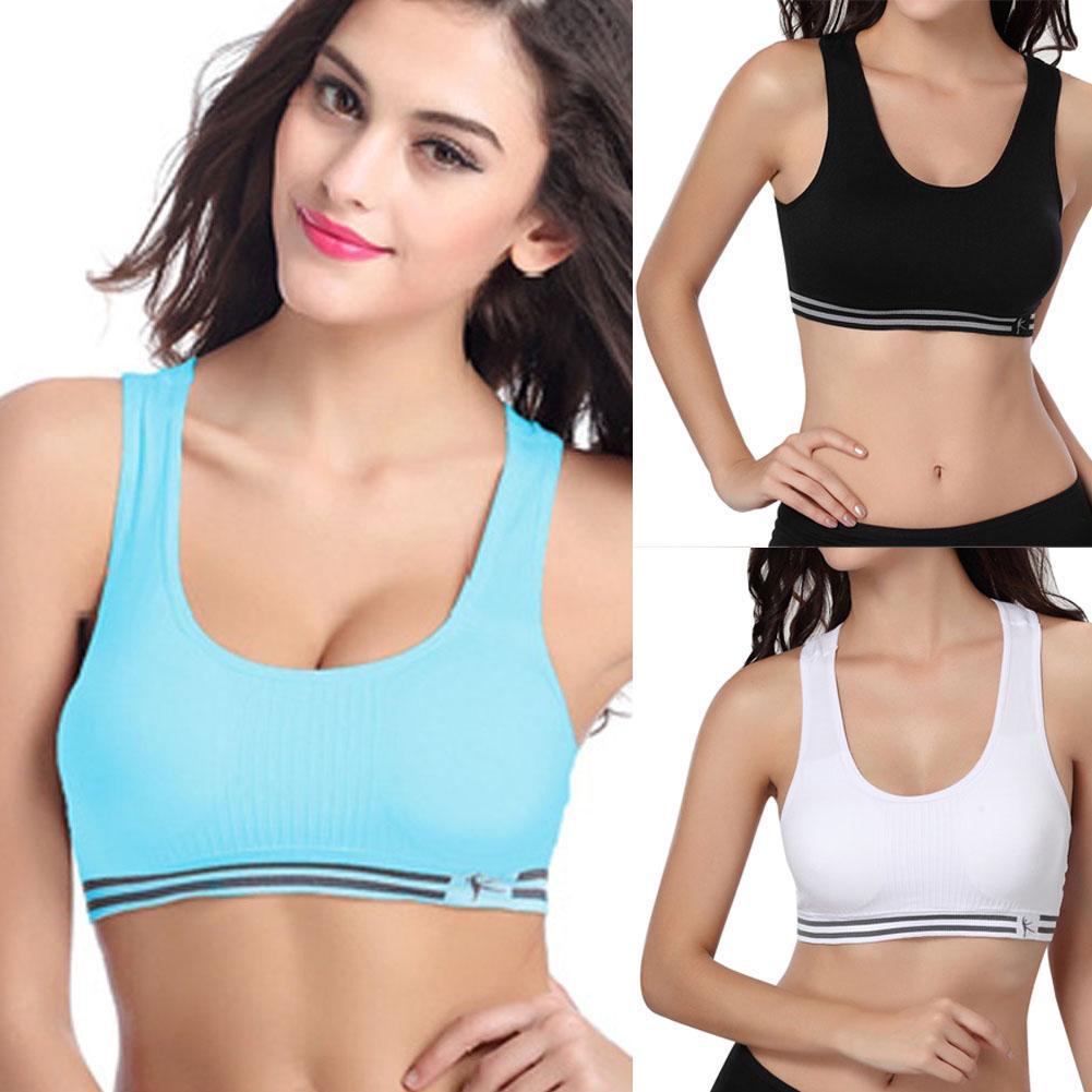 Women Seamless Gym Sports Bra Crop Top Vest Comfort Stretch US Wireless Yoga !
