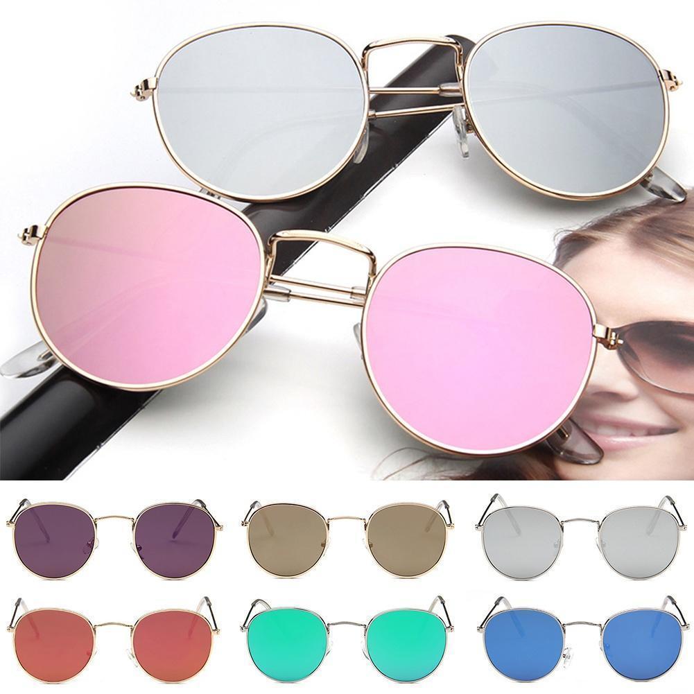 Gafas de sol de oro rosa Metal marco círculo espejo de forma redonda ...
